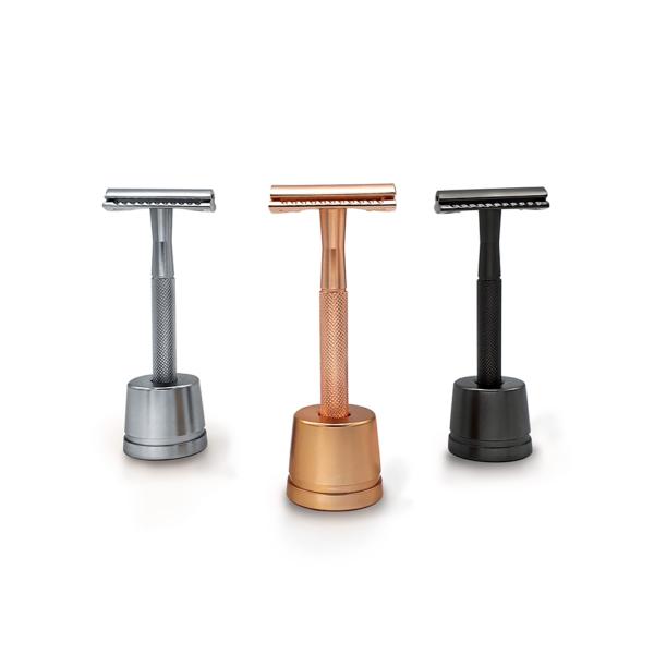 Bambaw metalen scheermes met sokkel overzicht uit doos
