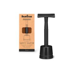 Bambaw metalen scheermes met sokkel zwart_1