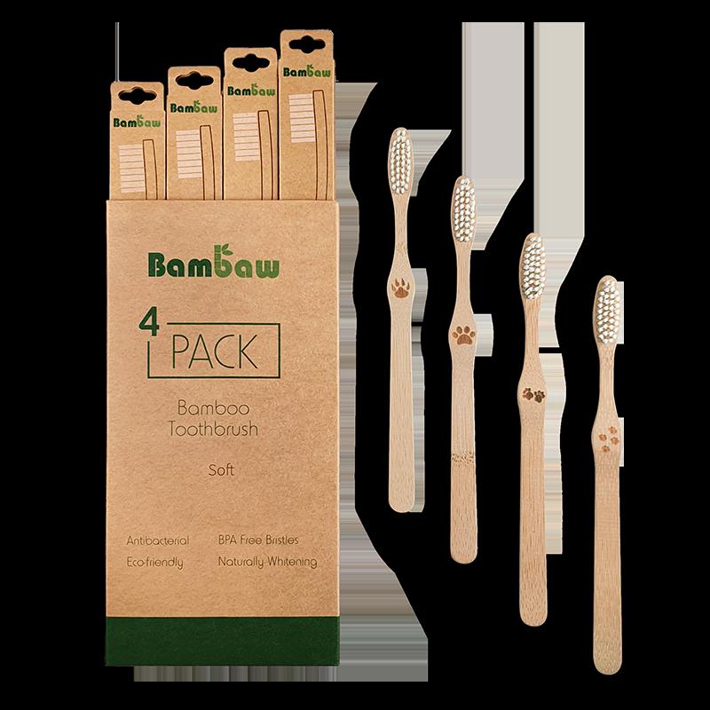 Bamboe tandenborstels 4- pack soft_2