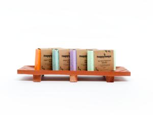 Grote shampoo en zeep houder van mahonie hout_2